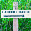 40419329 - career change written on directional wooden sign with arrow pointing to the right against green leaves background. concept image with available copy space