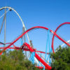 25221655 - red roller coaster port aventura  spain