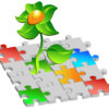 4483878 - flower making way through picture with multi-coloured puzzles, illustration